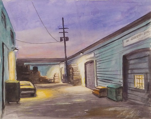 san fran watercolor green night alley.jp