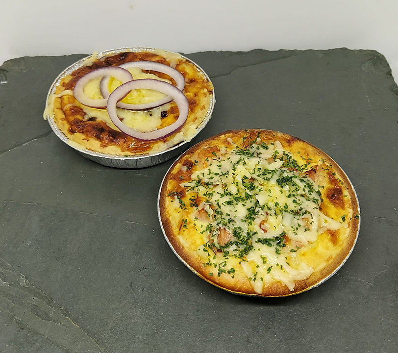 Cheese & Onion and Ham & Cheese Quiche.J