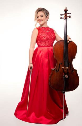 Sympholynn Cellist Red Gown Lindsey