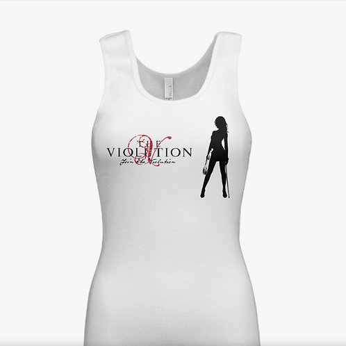 Ladies' White Fitted Violution Tank Top