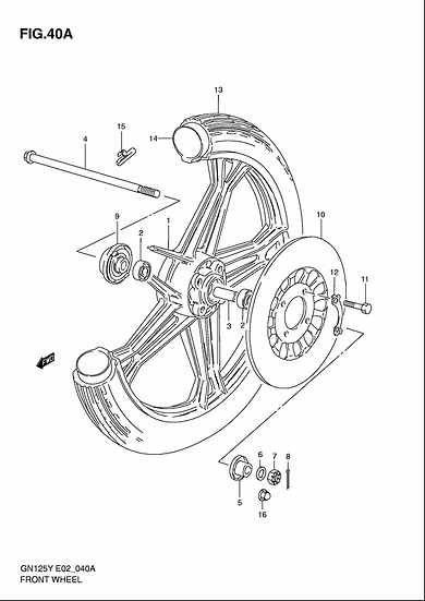 GN125 - Front Wheel