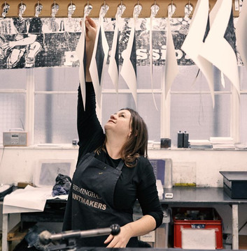 Sharon at the old Birmingham Printmakers Workshop