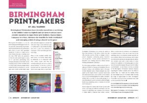 Birmingham Printmakers in 'Artefacts' Magazine November 2017