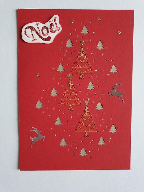"""Carte brodée """"Noël"""""""