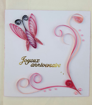 Carte anniversaire décor e quilling