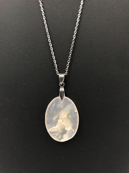 A77 - Clear Moss Agate Necklace