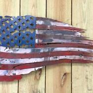 Metal USA flag wall art