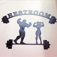 Custom metal sign for restroom