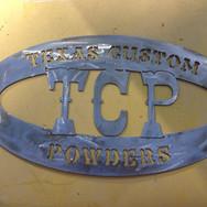 Metal sign of logo