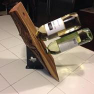 Metal and Wood Wine Holder