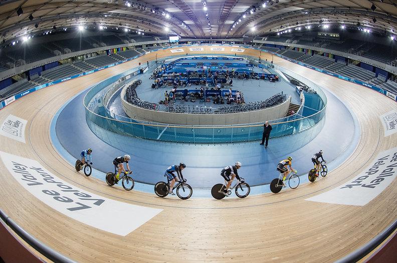 Indoor velodrom track at Lee Valley Velopark