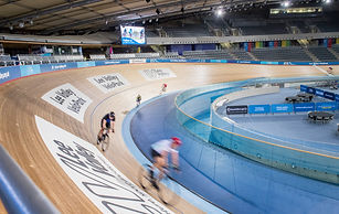 Track cyclists riding the track