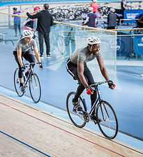 People track cycling in the velodrome