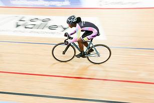 Lone track cyclist
