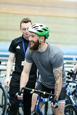 Man on track bike