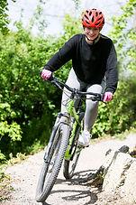 Mountain biking on trails