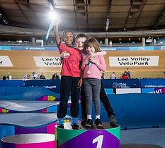 Children on pump track podium