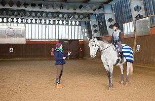 woman and horse with instructor