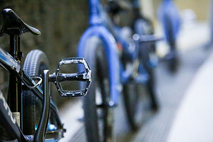 Close up of BMX bikes in a line