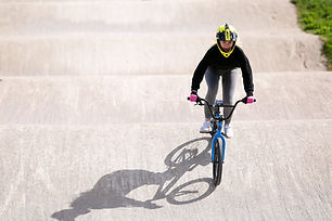 BMX cyclist on the track
