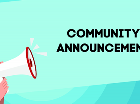 #COMMUNITY #ANNOUNCEMENT