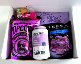 Custom snack box filled with Purple - a fun & easy way to emphasize your brand! Ask us about adding a branded t-shirt to your boxes.
