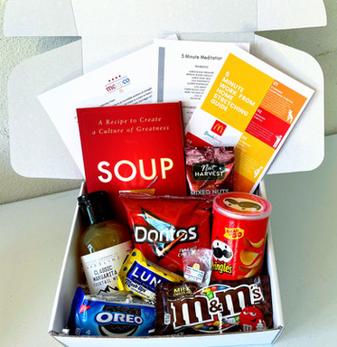 A snack box full of familiar favorites! Featuring our BreakAway Stretching & Meditation guides.
