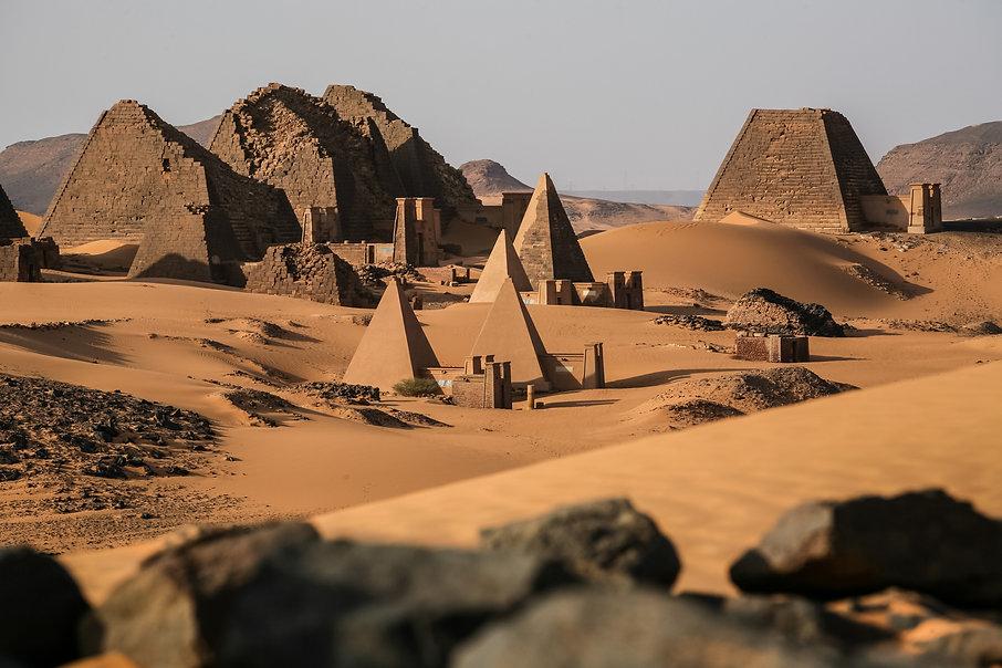 Meroe pyramids in the sahara desert Suda