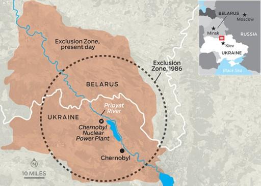 Mapa uzavřené zóny, v roce 1986 a dnes