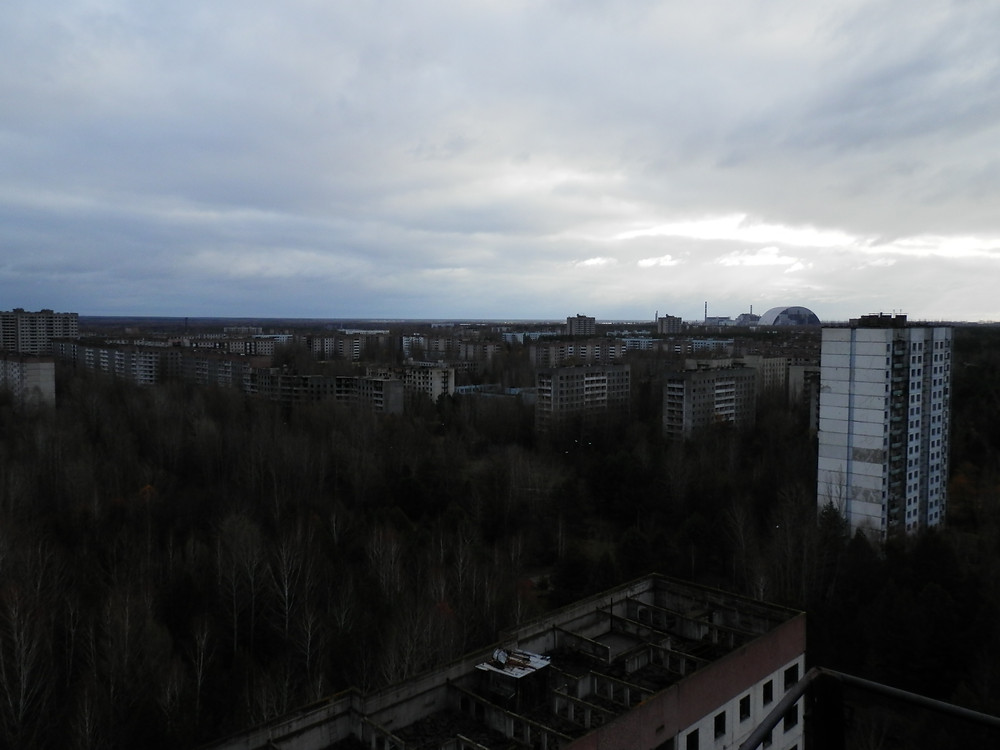 Pohled na Pripjať z 16 patrového paneláku