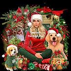 Kerstvrouw en honden