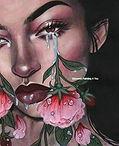 Vrouw traan en bloemen