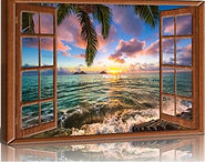 Houten venster zee