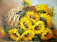Zonnebloemen in mand