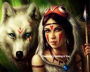 Indianenvrouw&Wolf