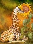 Giraffe zonnebloem
