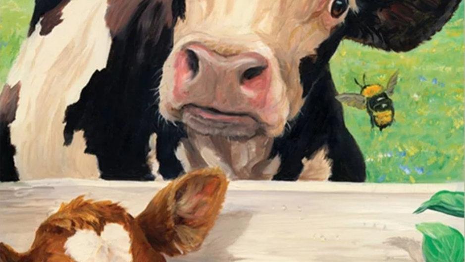 Koeien bij hek