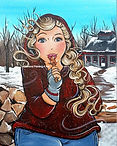 Dikke dame in sneeuw