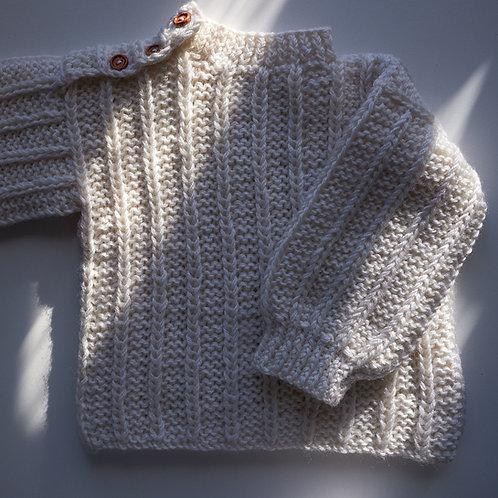 Pletený svetr pro malé raubíře_bílý