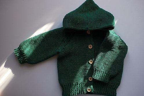 Pletený svetřík pro malé skřítky_tm. zelený