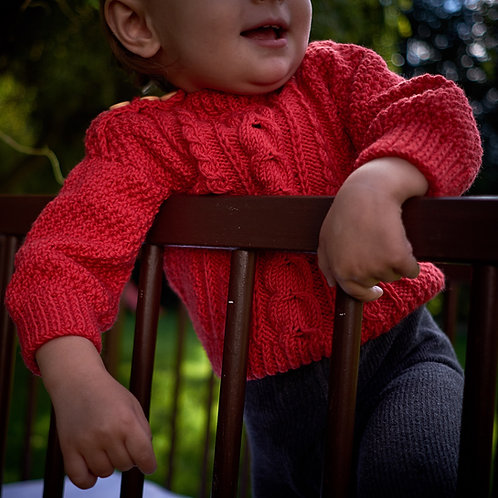 Pletený svetr pro malé zmrzlíky_merino_červený
