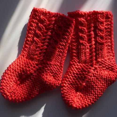 Pletené ponožky pro malé zachumlánky-merino-červené