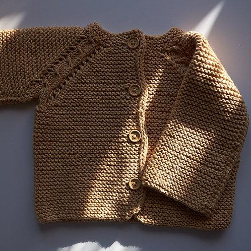 pletený propínací svetřík _béžový