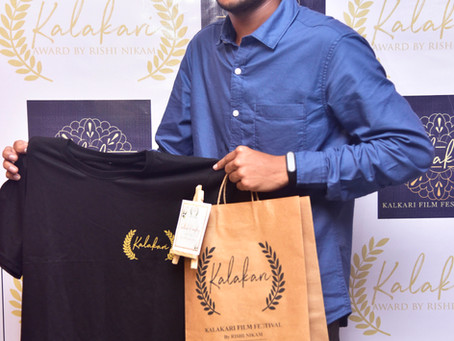 Virtual launching ceremony of kalakari film festival merchandise by rishi nikam