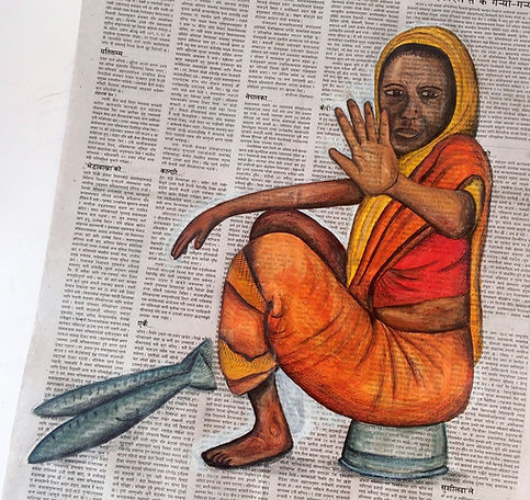 Indian woman painted onto a Hindi paper.
