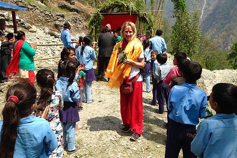 Sophie visiting the finished school in Nepal.