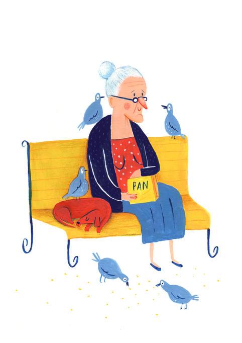 Señora y palomas