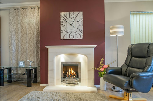 Avalade Limestone Fireplace Suite with Open Fronted Gas Fire