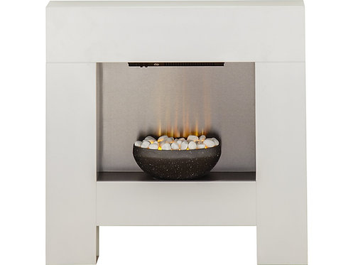 Cubist Fireplace Suite in White with Electric Fire