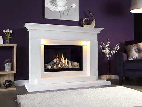 Aleesia Illumia Limestone Fireplace